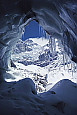 The South Face of Manaslu, seen from inside an ice cave on the Thulagi Glacier at Base Camp.