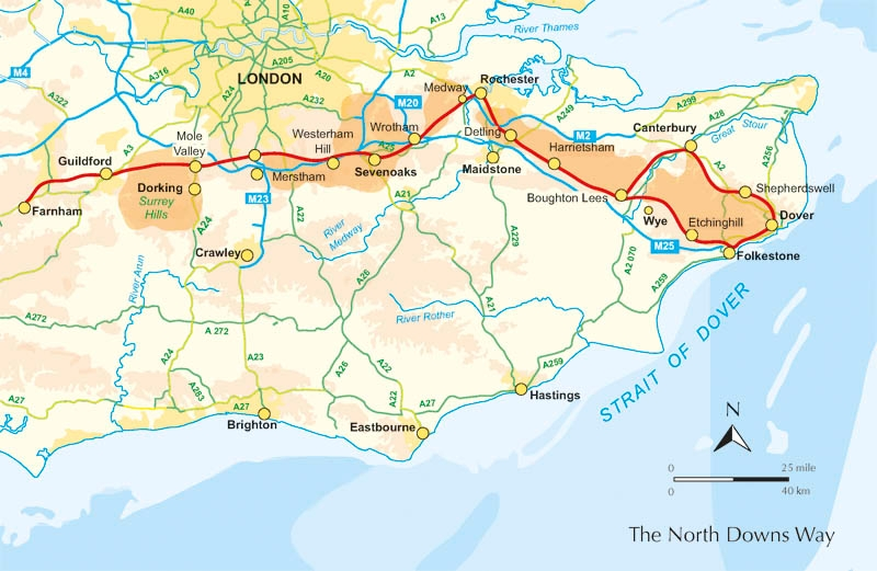 North Downs Way Map walking books.:: Walk with us in. :: South East :: Walking