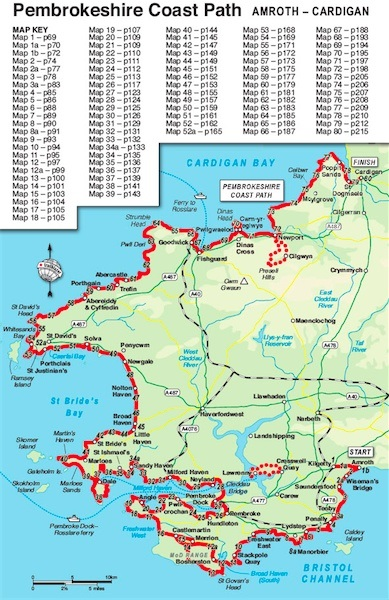 Pembrokeshire Coast Path Map walking books.:: Walk with us in. :: Wales and the Welsh  Pembrokeshire Coast Path Map
