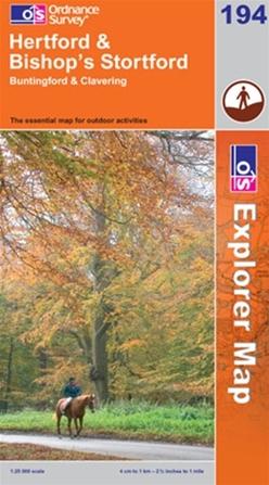 OS Explorer Map 194 Hertford & Bishop's Stortford
