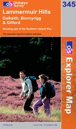OS Explorer Map 345 Lammermuir Hills