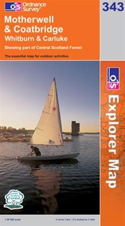 OS Explorer Map 343 Motherwell & Coatbridge