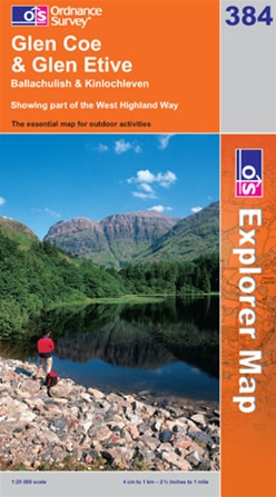 OS Explorer Map 384 Glen Coe & Glen Etive