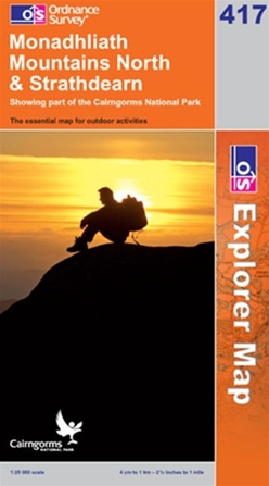 OS Explorer Map 417 Monadhliath Mountains North & Strathdearn