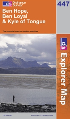 OS Explorer Map 447 Ben Hope, Ben Loyal & Kyle of Tongue
