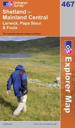 OS Explorer Map 467 Shetland - Mainland Central