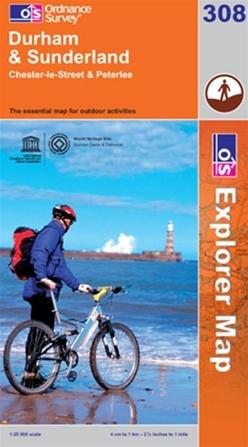 OS Explorer Map 308 Durham & Sunderland