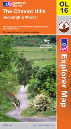 OS Explorer Map OL 16 The Cheviot Hills