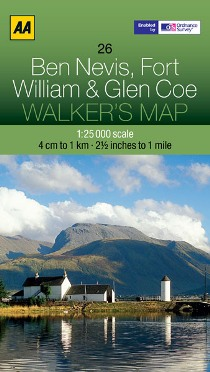 AA Walker's Map - Ben Nevis, Fort William & Glen Coe