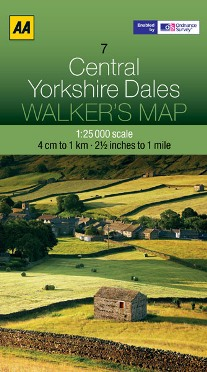 AA Walker's Map - Central Yorkshire Dales