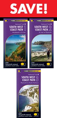 South West Coast Path - set of THREE Harvey maps
