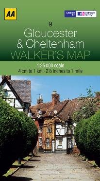 AA Walker's Map - Gloucester & Cheltenham