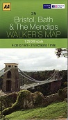 AA Walker's Map - Bristol, Bath & The Mendips