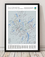 The 214 Wainwright fells and tarns of The Lake District Map